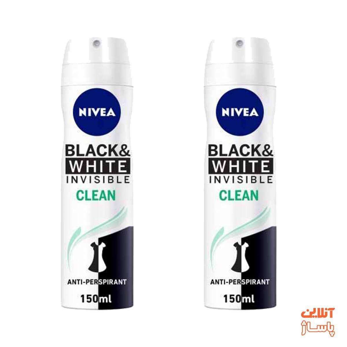 اسپری بدن زنانه نیوآ مدل Black And White Invisible Clean حجم 150 میلی لیتر مجموعه 2 عددی