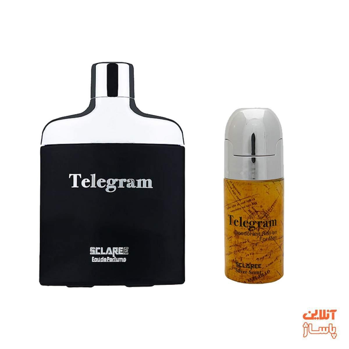 ست ادوپرفیوم مردانه اسکلاره مدل Telegram حجم 82 میلی لیتر به همراه رول ضد تعریق Telegram